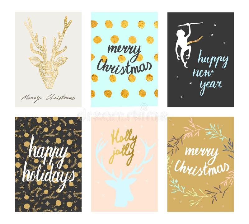 Geplaatste de prentbriefkaaren van Kerstmis stock illustratie