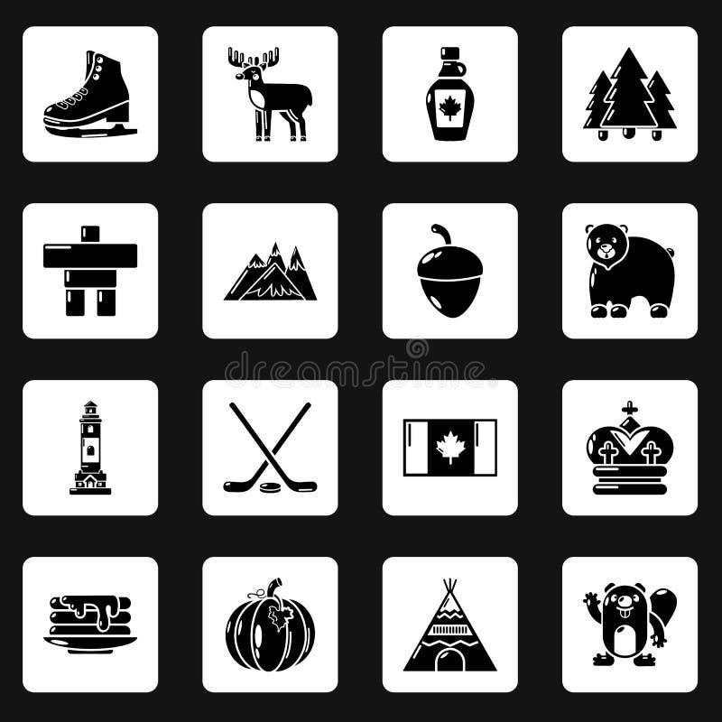 Download Geplaatste De Reispictogrammen Van Canada, Eenvoudige Stijl Vector Illustratie - Illustratie bestaande uit architectuur, oriëntatiepunten: 114225503