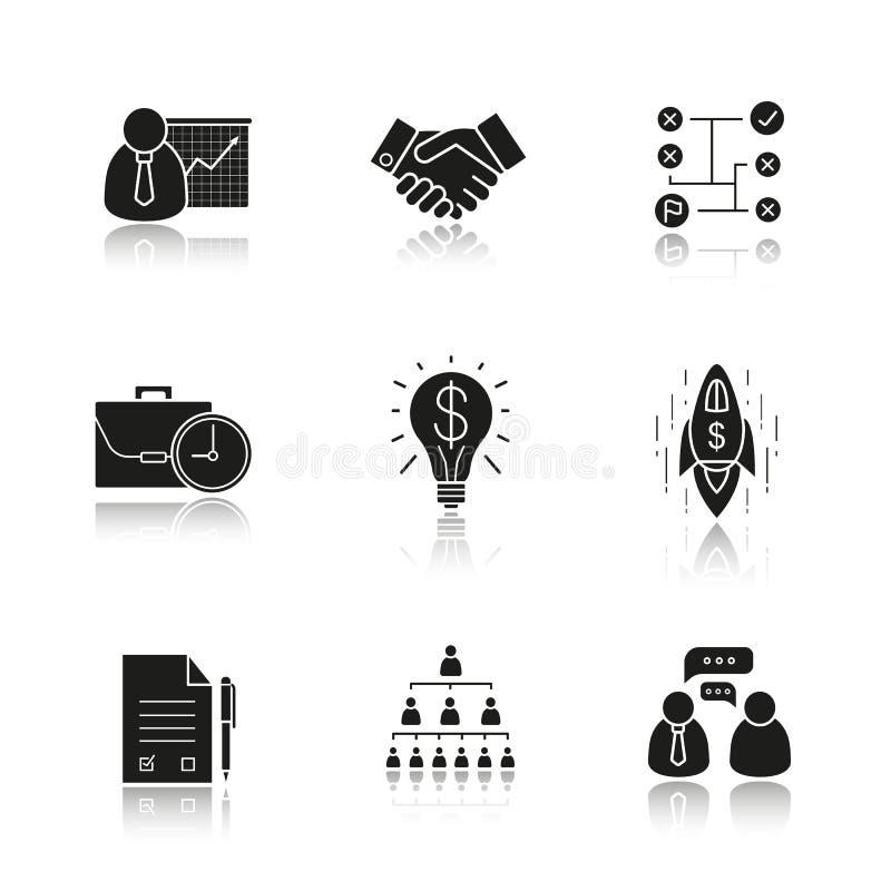 Geplaatste de schaduw zwarte pictogrammen van de bedrijfsconceptendaling vector illustratie