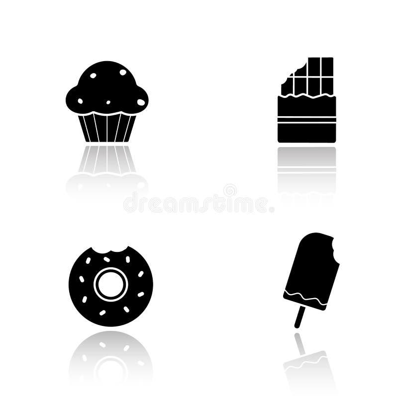 Geplaatste de schaduwpictogrammen van de snoepjesdaling vector illustratie