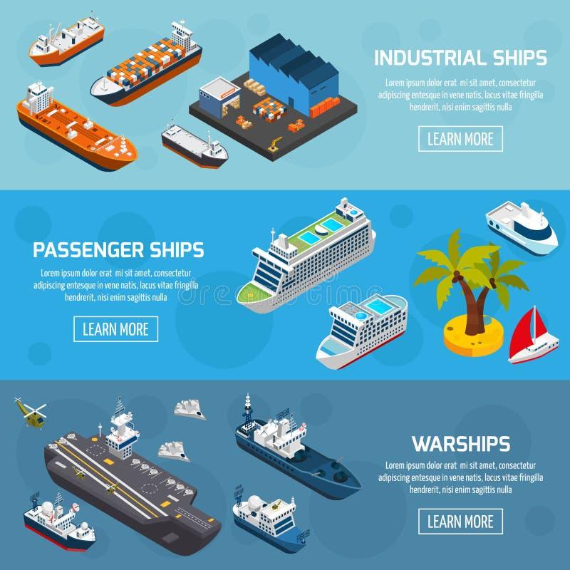 Geplaatste de Schepen Isometrische Banners van schepenboten stock illustratie