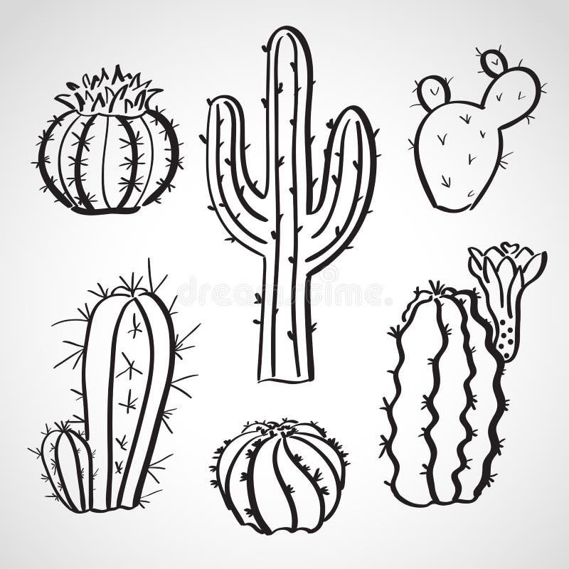 Geplaatste de schets van de inktstijl - cactusreeks royalty-vrije illustratie