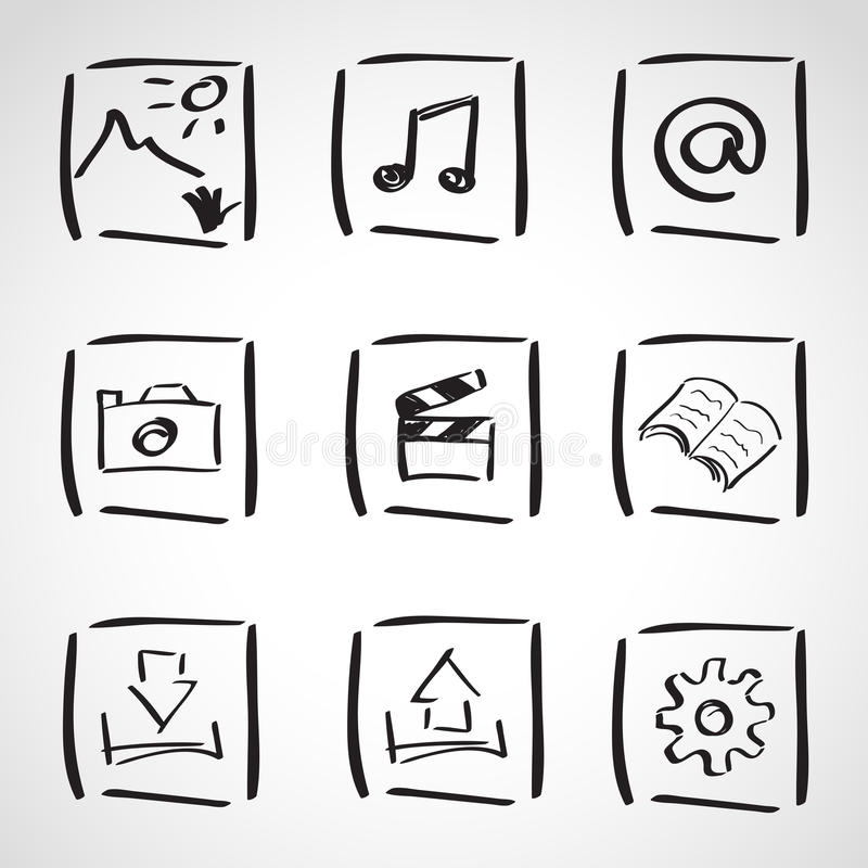 Geplaatste de schets van de inktstijl - computerpictogrammen royalty-vrije illustratie