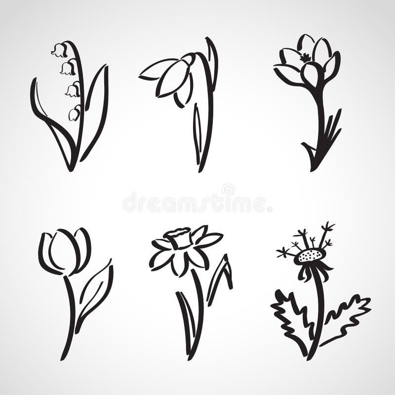 Geplaatste de schets van de inktstijl - de lentebloemen royalty-vrije illustratie