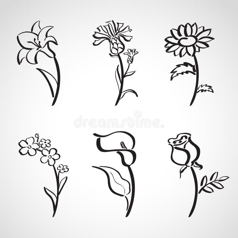 Geplaatste de schets van de inktstijl - de zomerbloemen stock illustratie