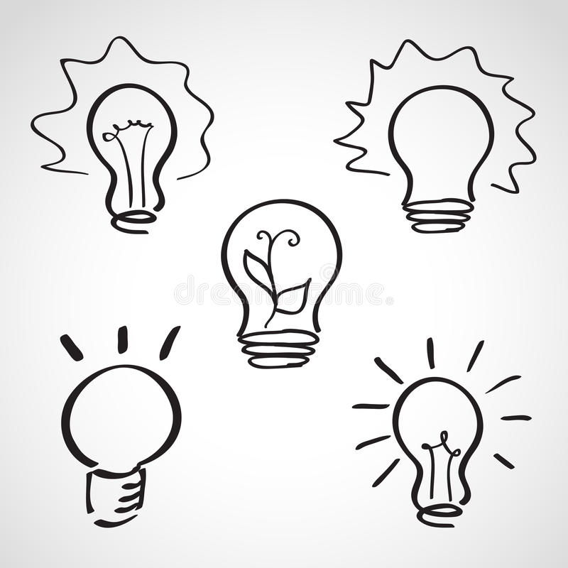 Geplaatste de schets van de inktstijl - lightbulb pictogrammen stock illustratie