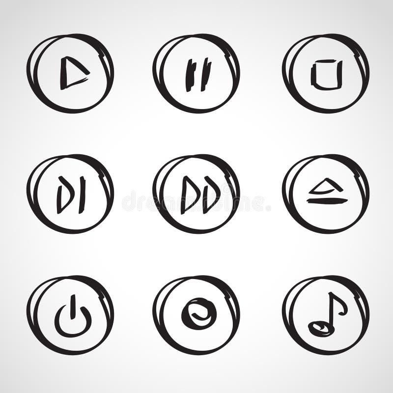 Geplaatste de schets van de inktstijl - Media spelerelementen vector illustratie