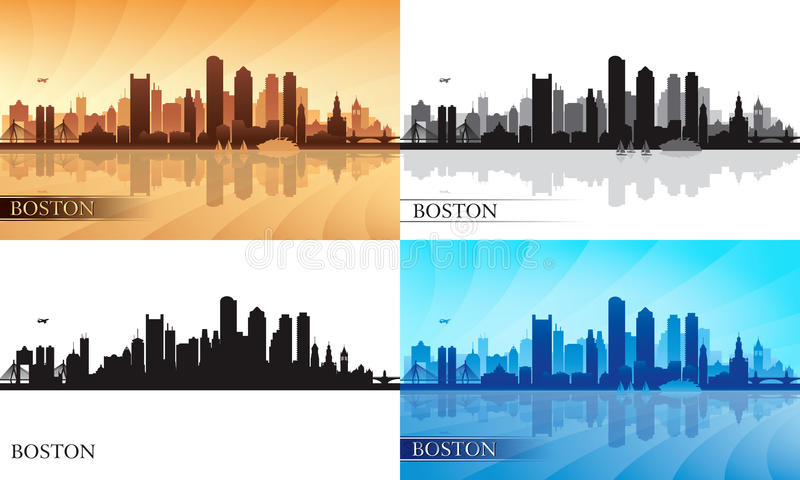 Geplaatste de silhouetten van de de stadshorizon van Boston stock illustratie