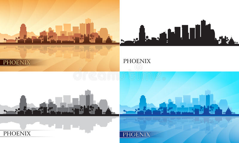 Geplaatste de silhouetten van de de stadshorizon van Phoenix vector illustratie