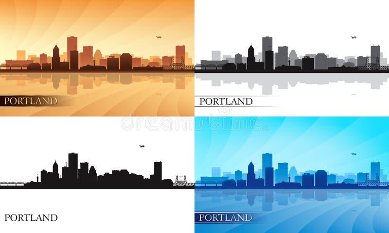 Geplaatste de silhouetten van de de stadshorizon van Portland royalty-vrije illustratie