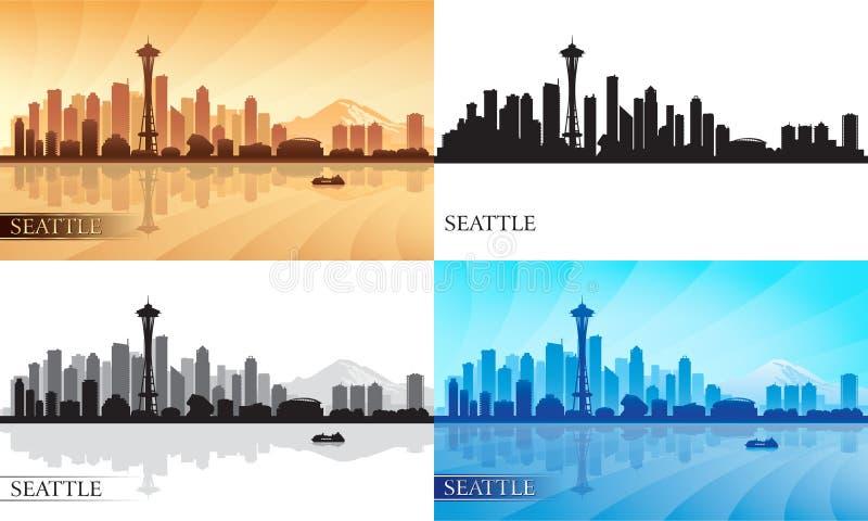 Geplaatste de silhouetten van de de stadshorizon van Seattle stock illustratie
