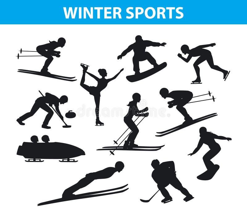 Geplaatste de Silhouetten van de Sneeuwsporten van het de winterijs vector illustratie