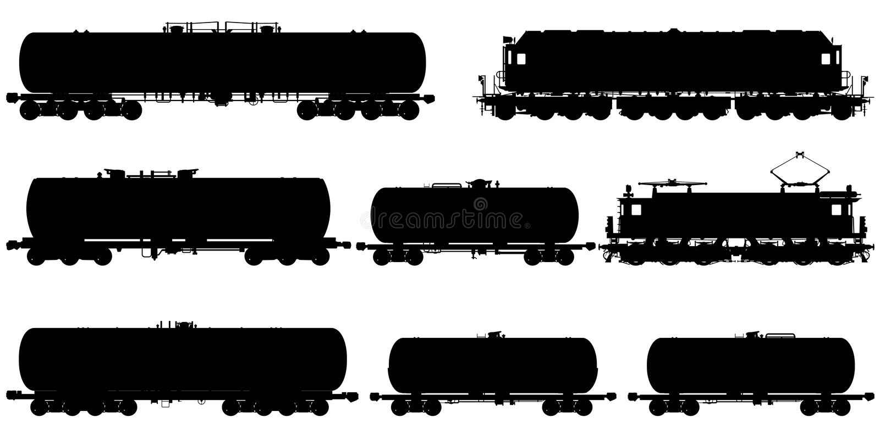 Geplaatste de silhouetten van de spoorweg royalty-vrije illustratie