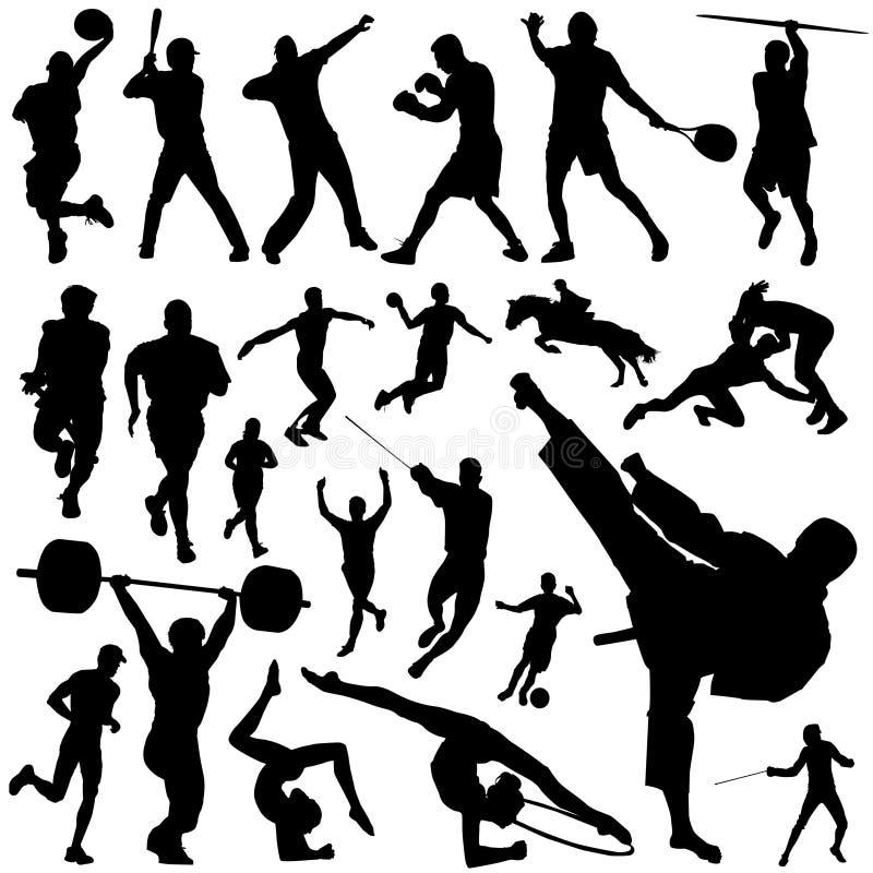 Geplaatste de silhouetten van de sport vector illustratie