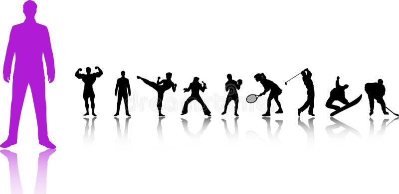 Geplaatste de Silhouetten van de sport royalty-vrije illustratie