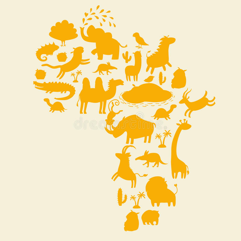 Geplaatste de silhouetten van Fricandieren Vector illustratie vector illustratie