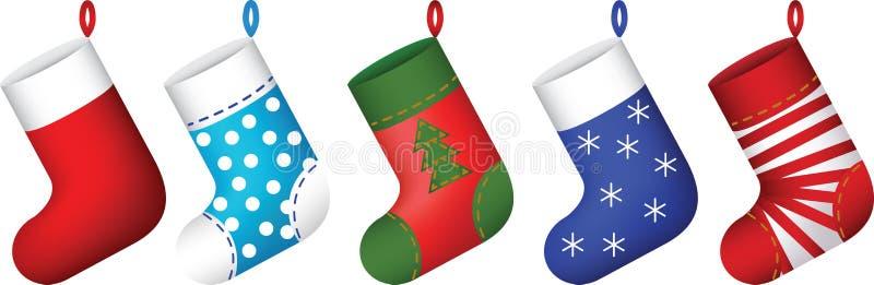 Geplaatste de sokken van Kerstmis stock illustratie