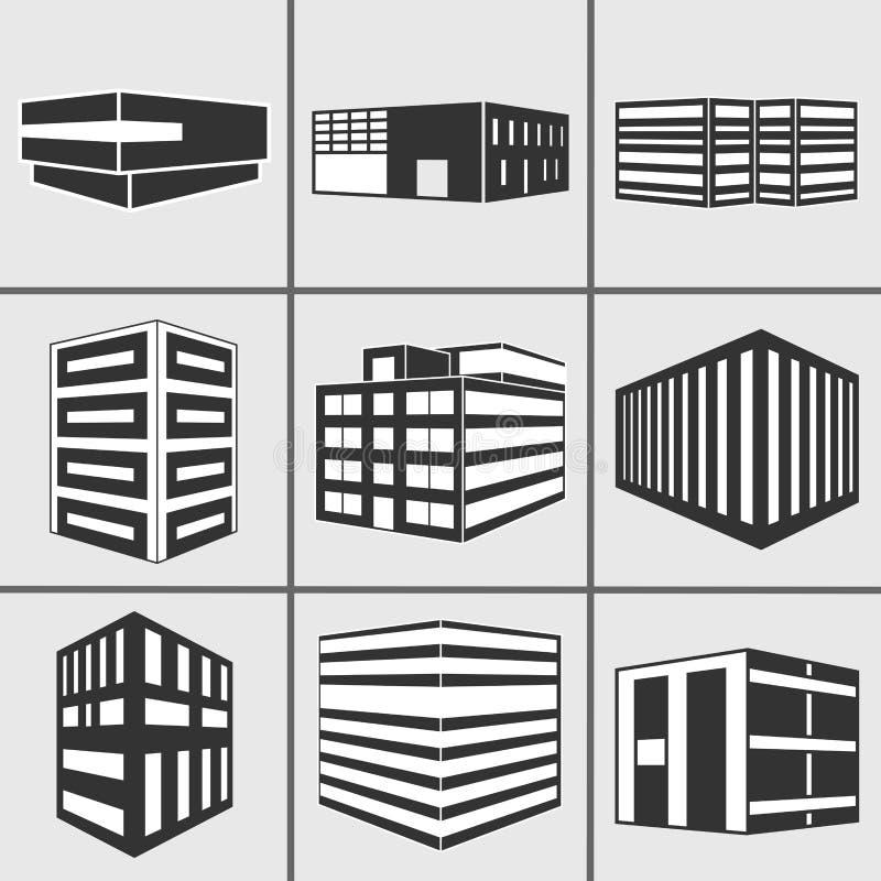 Geplaatste de stickerpictogrammen van het gebouwen vectorweb vector illustratie