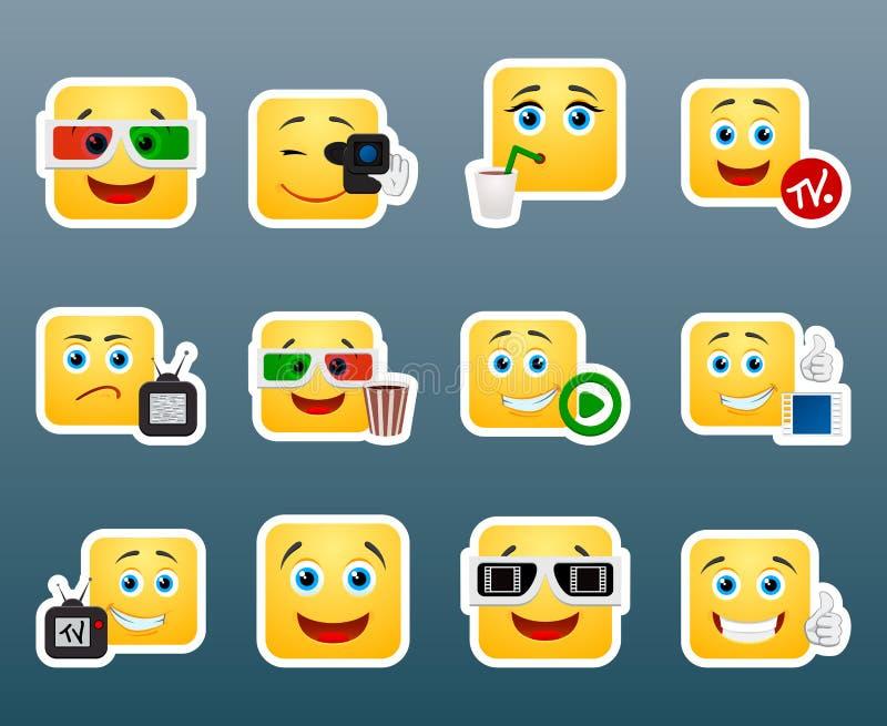 Geplaatste de stickers van de bioskoopglimlach royalty-vrije illustratie