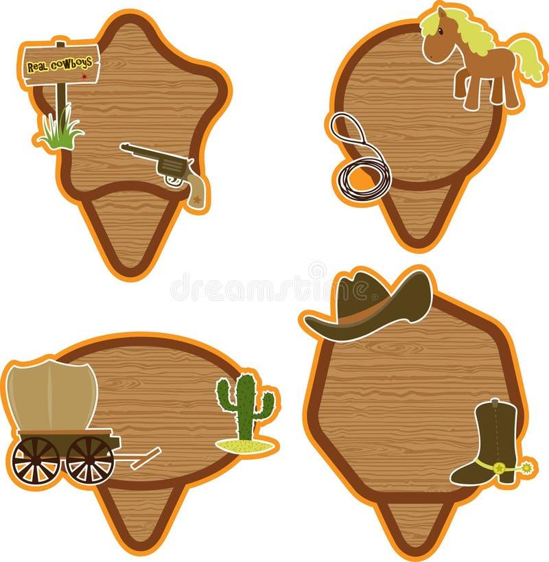 Geplaatste de stickers van de cowboy vector illustratie
