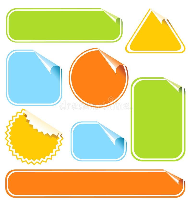 Geplaatste de stickers van de kleur vector illustratie