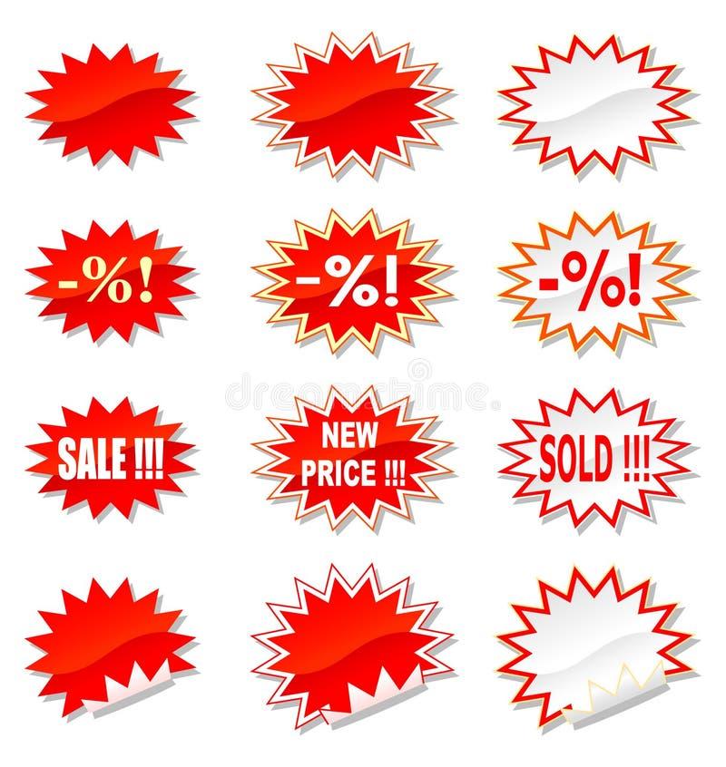 Geplaatste de stickers van de verkoop vector illustratie