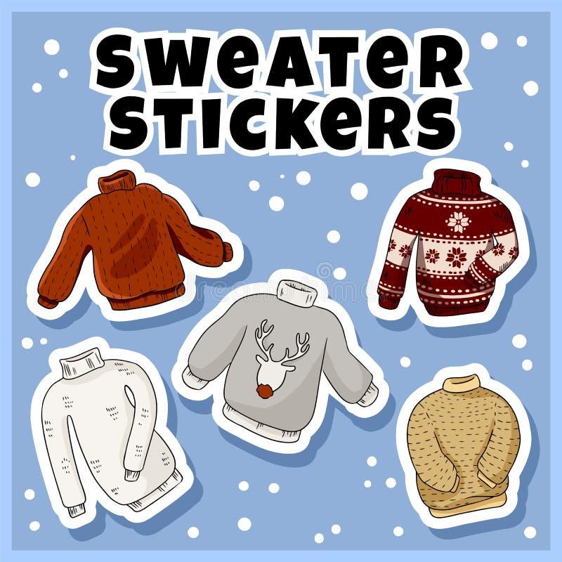 Geplaatste de stickers van Hipstersweaters Inzameling van kleurrijke krabbelsetiketten royalty-vrije illustratie