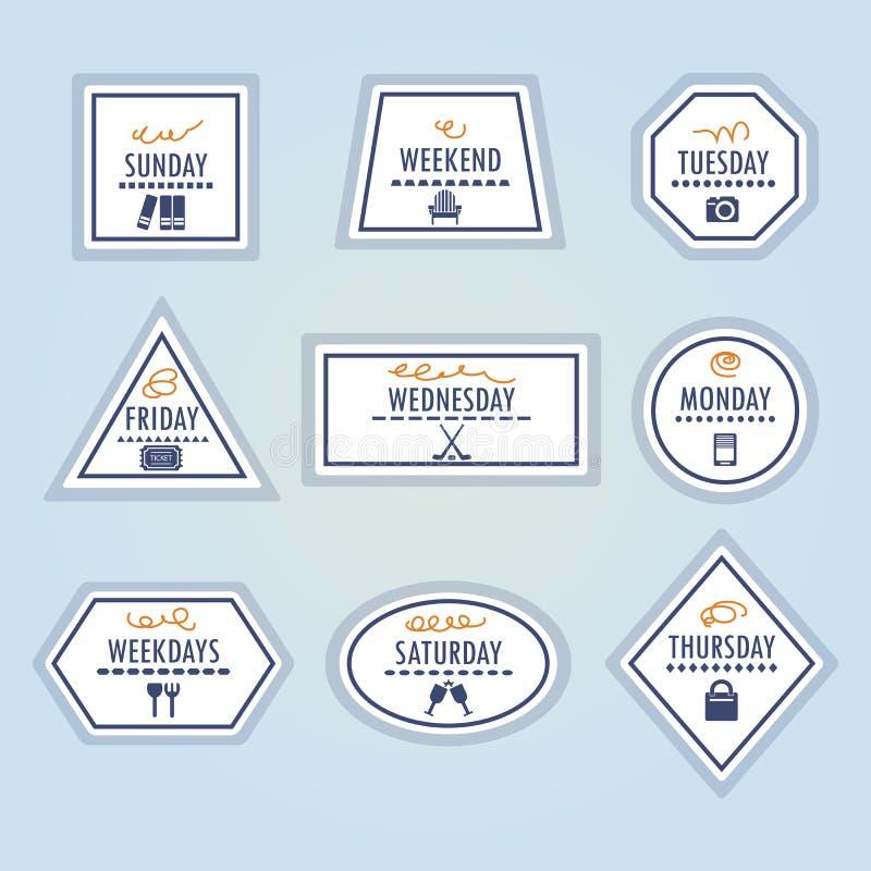 Download Geplaatste De Stickerspictogrammen Van Activiteitenweekdagen Vector Illustratie - Illustratie bestaande uit grens, emblemen: 54090595