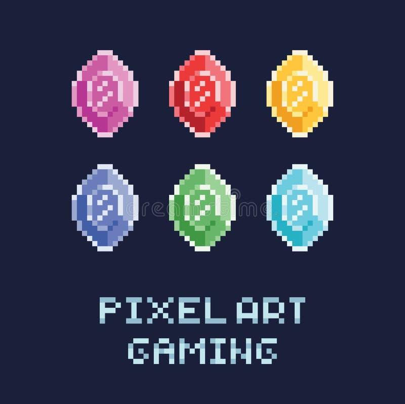 Geplaatste de stijl vectorillustratie van de pixelkunst - diamanten van verschillende kleuren royalty-vrije illustratie