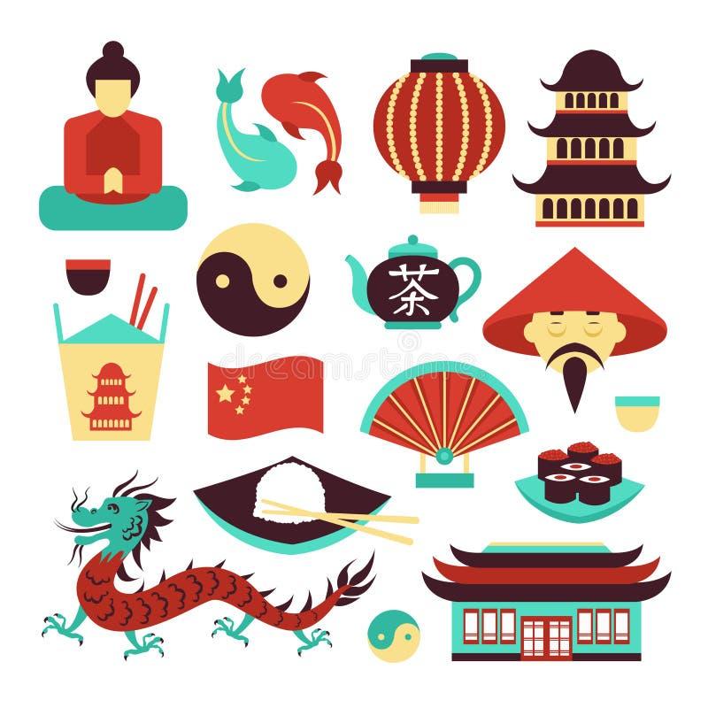 Geplaatste de symbolen van China royalty-vrije illustratie