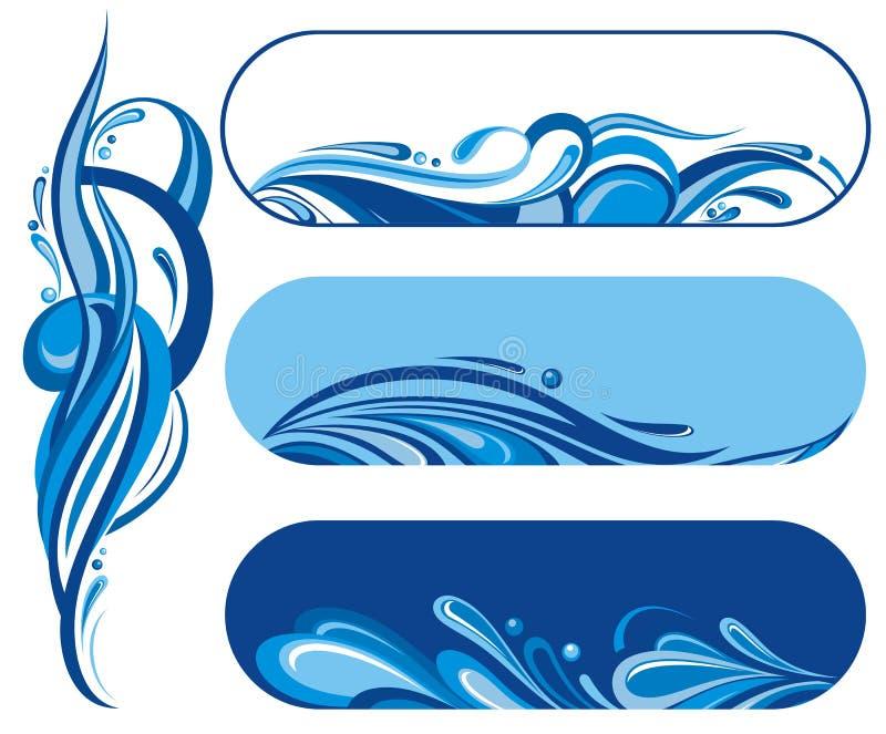 Geplaatste de symbolen van de watergolf stock illustratie