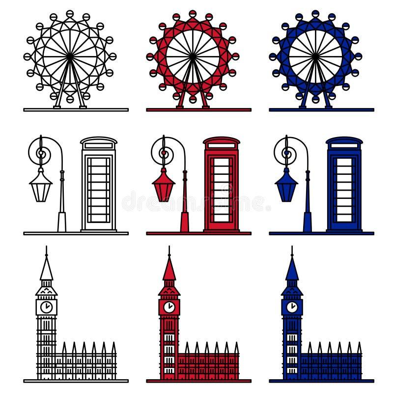 Geplaatste de Symbolen van Londen - Beroemde Gebouwen royalty-vrije illustratie