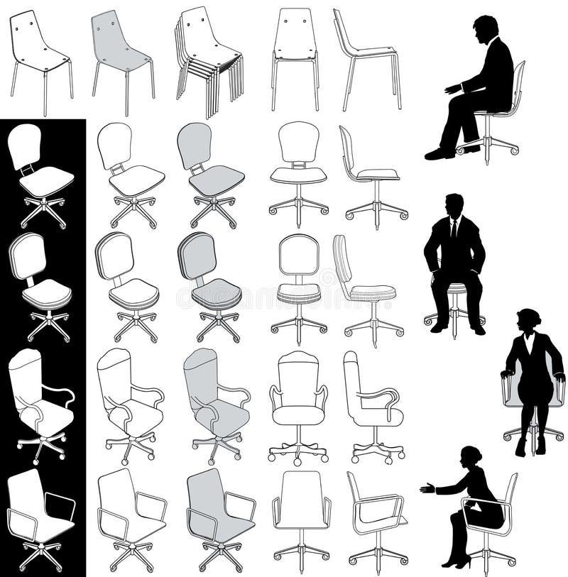 Geplaatste de tekeningen van het van het bedrijfs bureau stoelenmeubilair vector illustratie