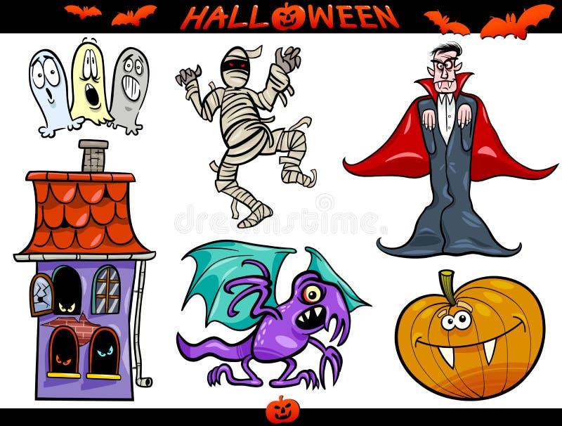 Download Geplaatste De Thema's Van Het Beeldverhaal Van Halloween Vector Illustratie - Illustratie bestaande uit achtervolgd, karikatuur: 29503806