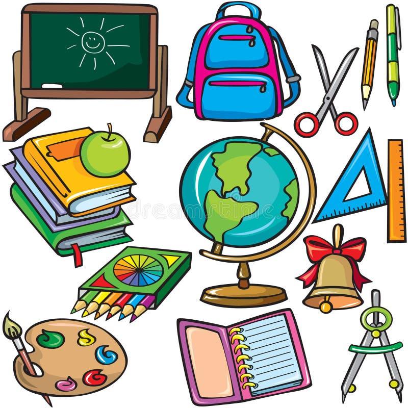 Geplaatste de toebehorenpictogrammen van de school vector illustratie