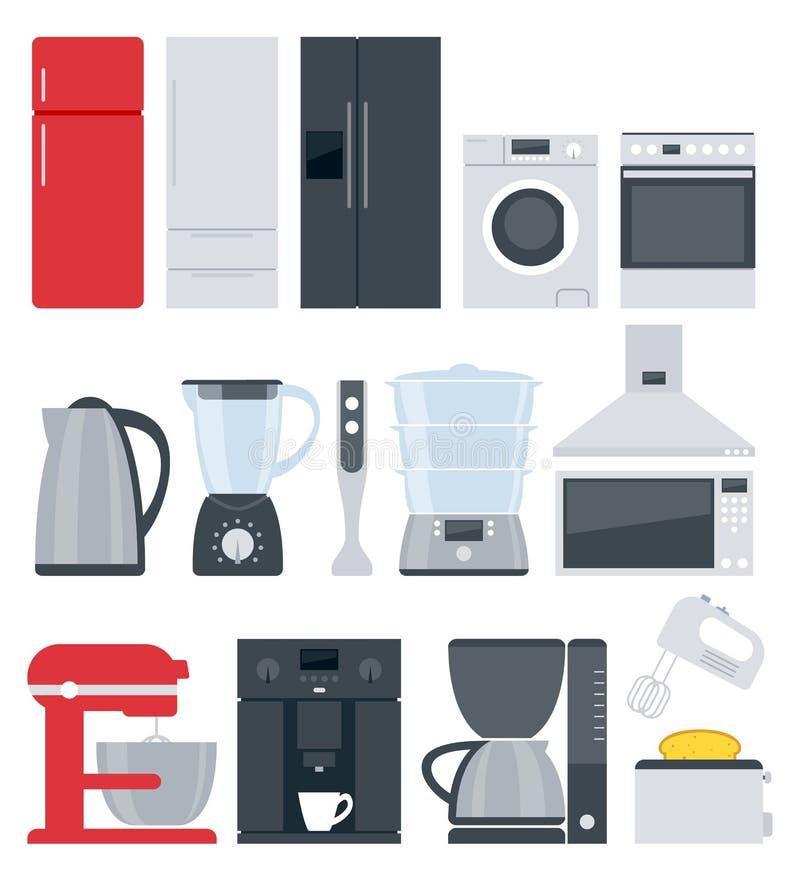 Geplaatste de toestellenpictogrammen van het keukenhuis Vlakke stijl vector illustratie