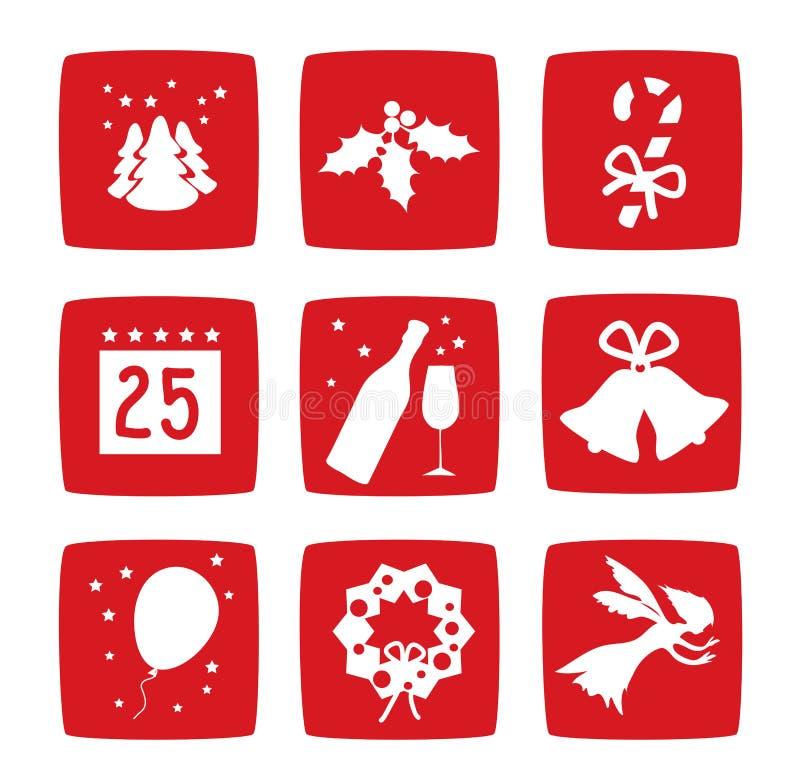 Geplaatste De Vakantiepictogrammen Van Kerstmis Van De Winter Stock Foto's