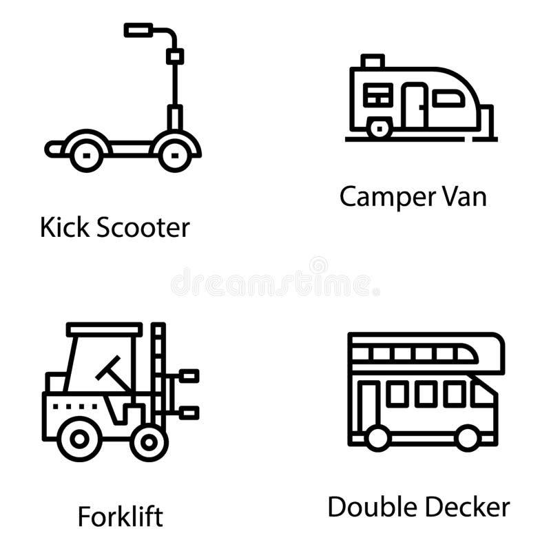 Geplaatste de Vectoren van de vervoerslijn stock illustratie