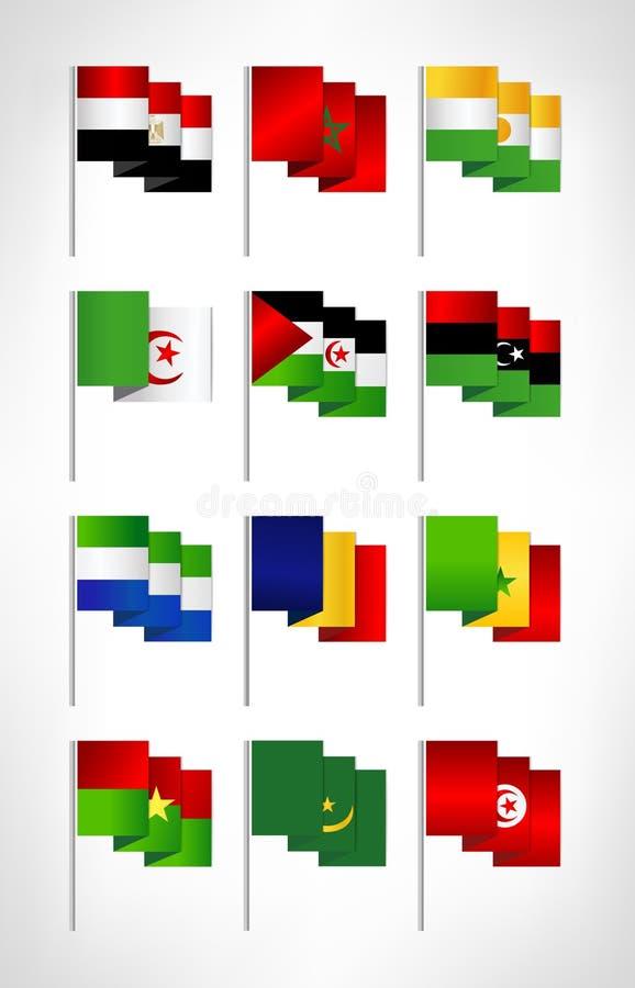 Geplaatste de vlaggen van Afrika Beeldverhaal vlak ontwerp stock illustratie