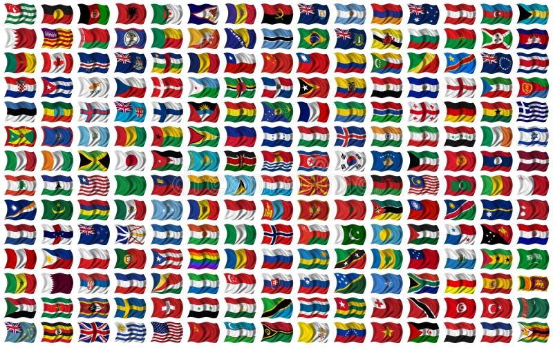 Geplaatste de Vlaggen van de wereld royalty-vrije illustratie
