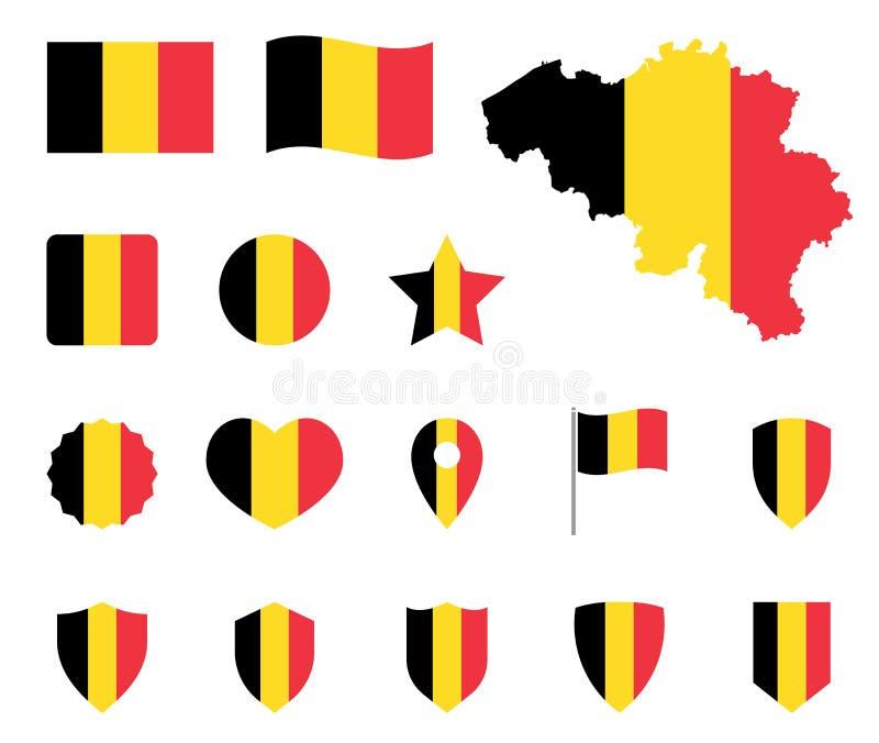 Geplaatste de vlagpictogrammen van België, Belgisch vlagsymbool stock illustratie