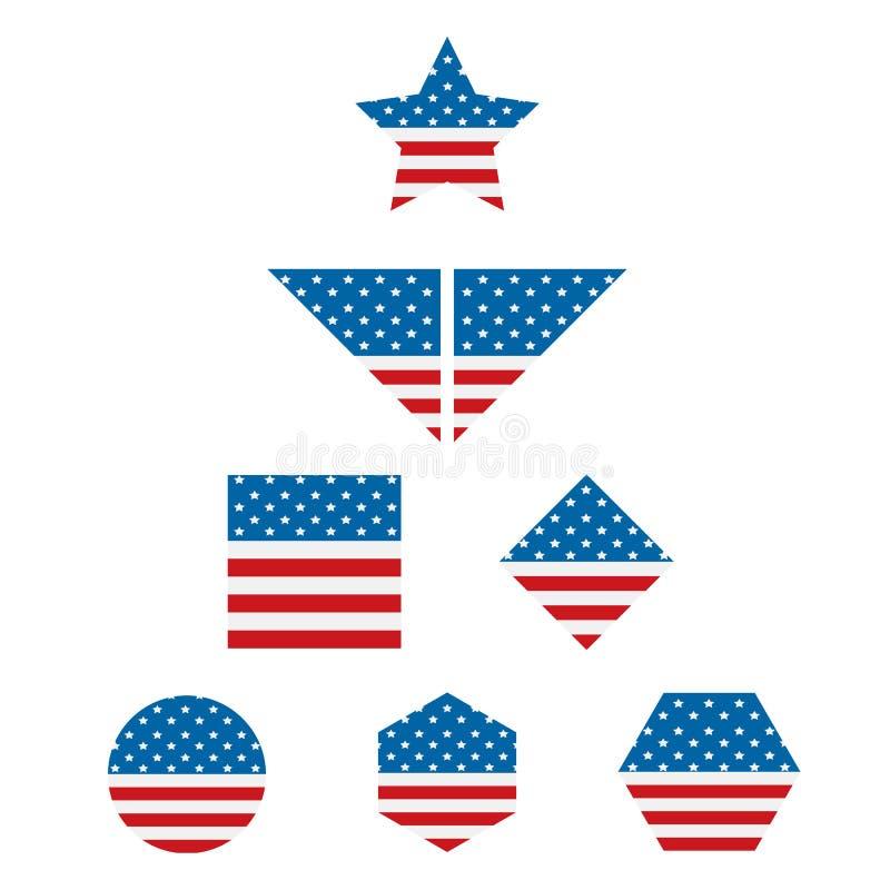 Geplaatste de vlagpictogrammen van de V.S. vierkant, cirkel, veelhoek, enz. stock illustratie