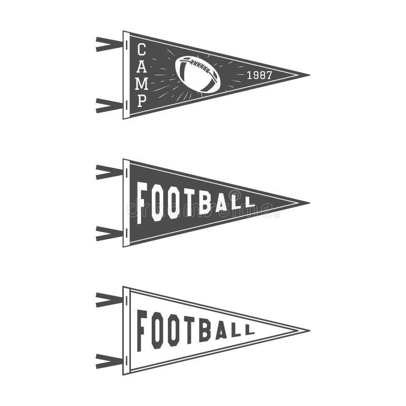 Geplaatste de Wimpelvlaggen van de universiteitsvoetbal De vectorpictogrammen van de Voetbaltegenhanger Universitaire geïsoleerde stock illustratie
