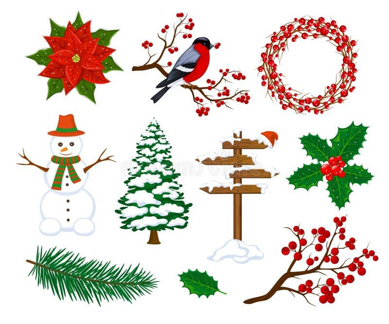 Geplaatste de winter Vrolijke Kerstmis en de Gelukkige Nieuwjaarobjecten Punten van Decoratieelementen royalty-vrije illustratie