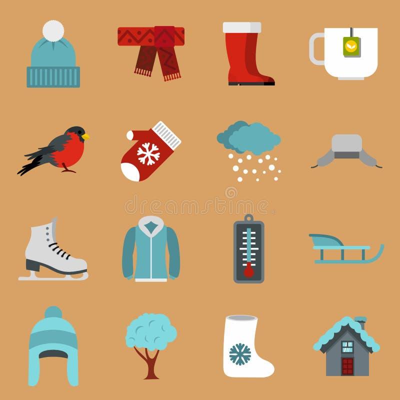 Geplaatste de winterpictogrammen, vlakke stijl vector illustratie