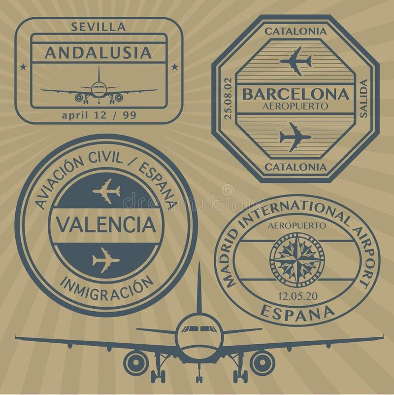 Geplaatste de zegels van de reis vector illustratie