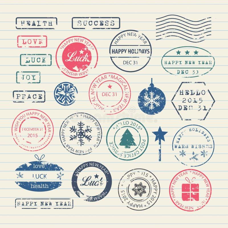 Geplaatste de Zegels van het nieuwjaar stock illustratie