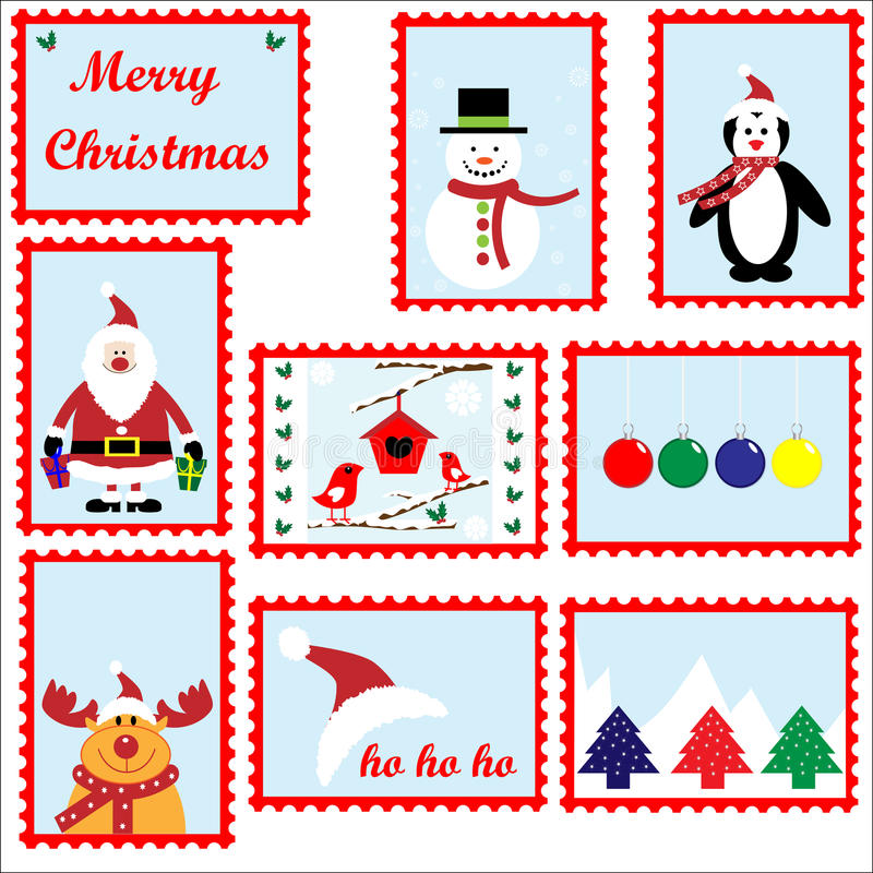 Geplaatste de Zegels van Kerstmis vector illustratie