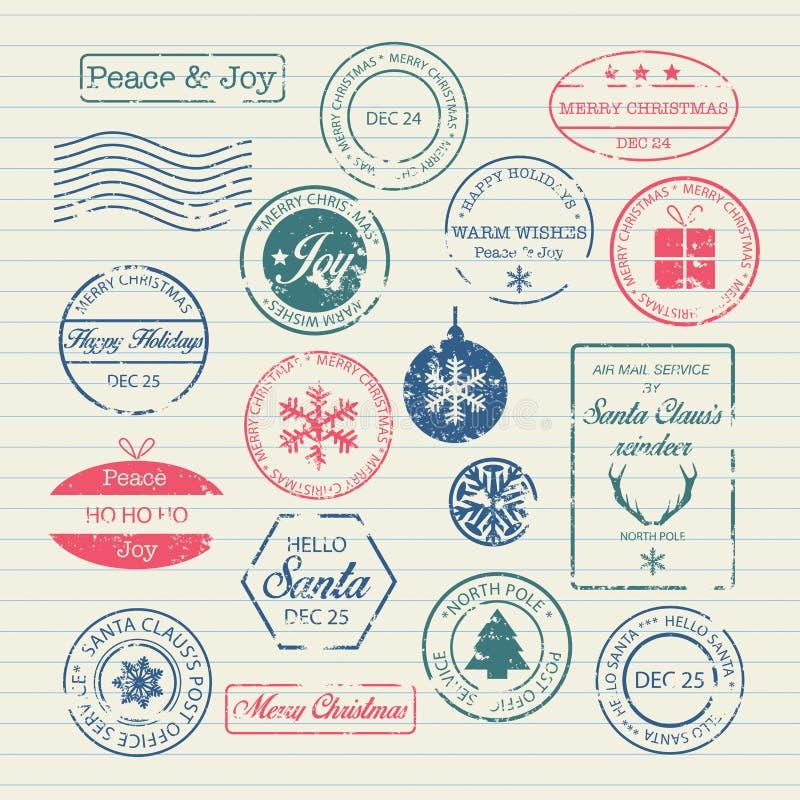 Geplaatste de Zegels van Kerstmis royalty-vrije illustratie