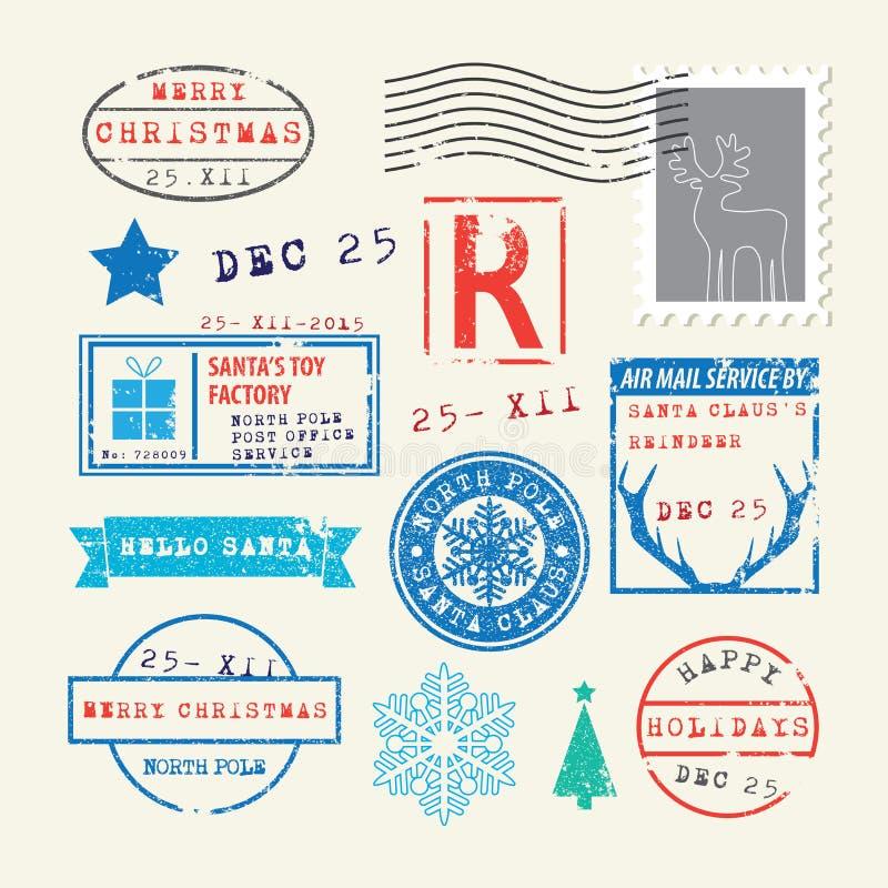 Geplaatste de Zegels van Kerstmis stock illustratie